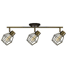 Jax 3-Light Antique Pewter Track Lighting with Bulbs Included