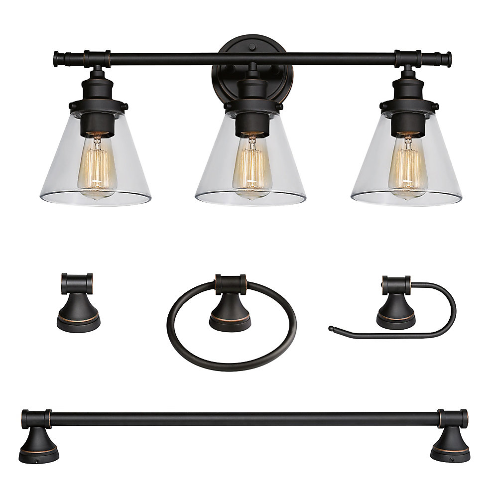 Prime Parker 5 Piece Oil Rubbed Bronze All In One Bath Set With Vanity Light Interior Design Ideas Inesswwsoteloinfo