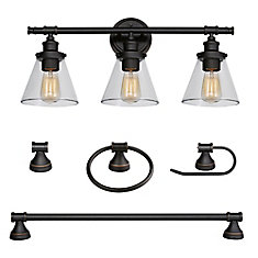 Parker 5-Piece Oil Rubbed Bronze All-In-One Bath Set with Vanity Light