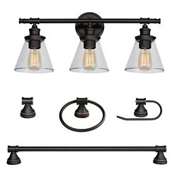 Globe Electric Parker 5-Piece Oil Rubbed Bronze All-In-One Bath Set with Vanity Light