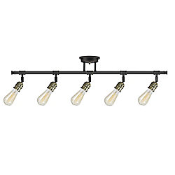 Globe Electric Rennes 5-Light Oil Rubbed Bronze Track Lighting with Bulbs Included