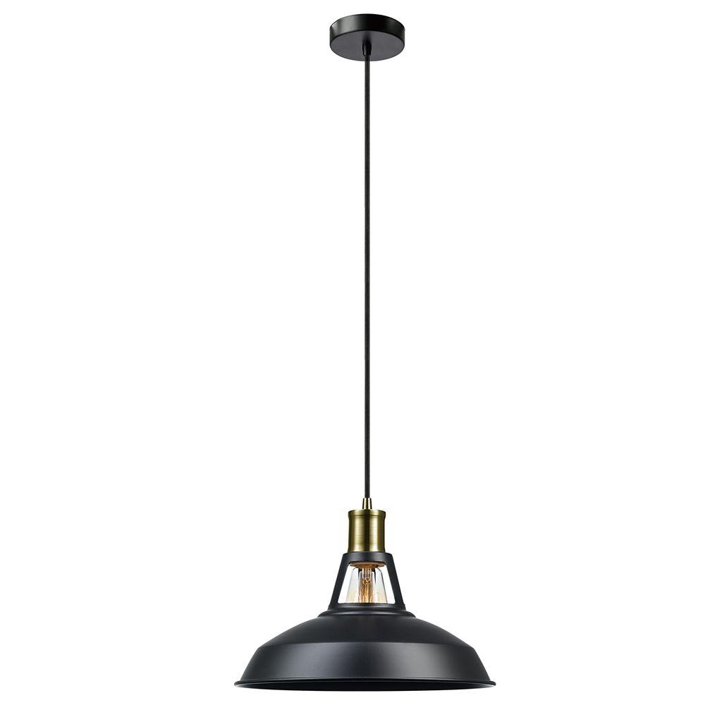 Globe Electric Robin 1-Light Satin Black Plug-In or Hardwire Pendant