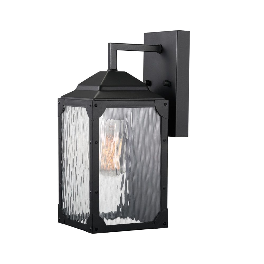 Globe Electric Miller 13 Inch 1-Light Black Outdoor Wall Sconce with Clear Watered Glass Shade