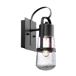 Globe Electric Helm 12-inch 1-Light Matte Black Outdoor Wall Sconce with Clear Seeded Glass Shade