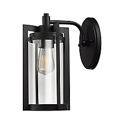 Globe Electric Theo 12 Inch 1-Light Dark Bronze Outdoor Wall Sconce with Clear Glass Shade