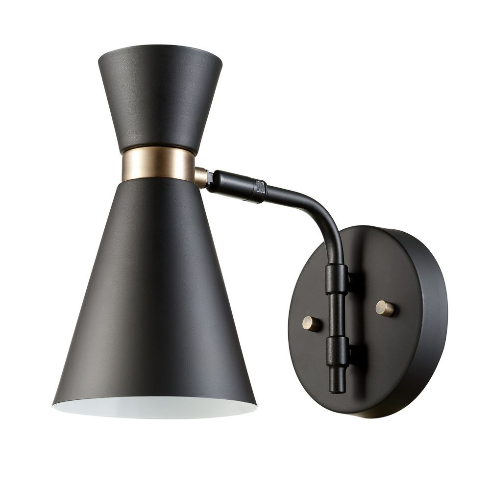 Globe Electric Belmont 1-Light Black and Gold Wall Sconce
