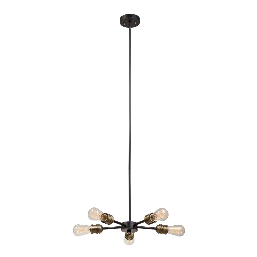 Globe Electric Beaugard 5-Light Matte Black Chandelier with Antique Brass Sockets