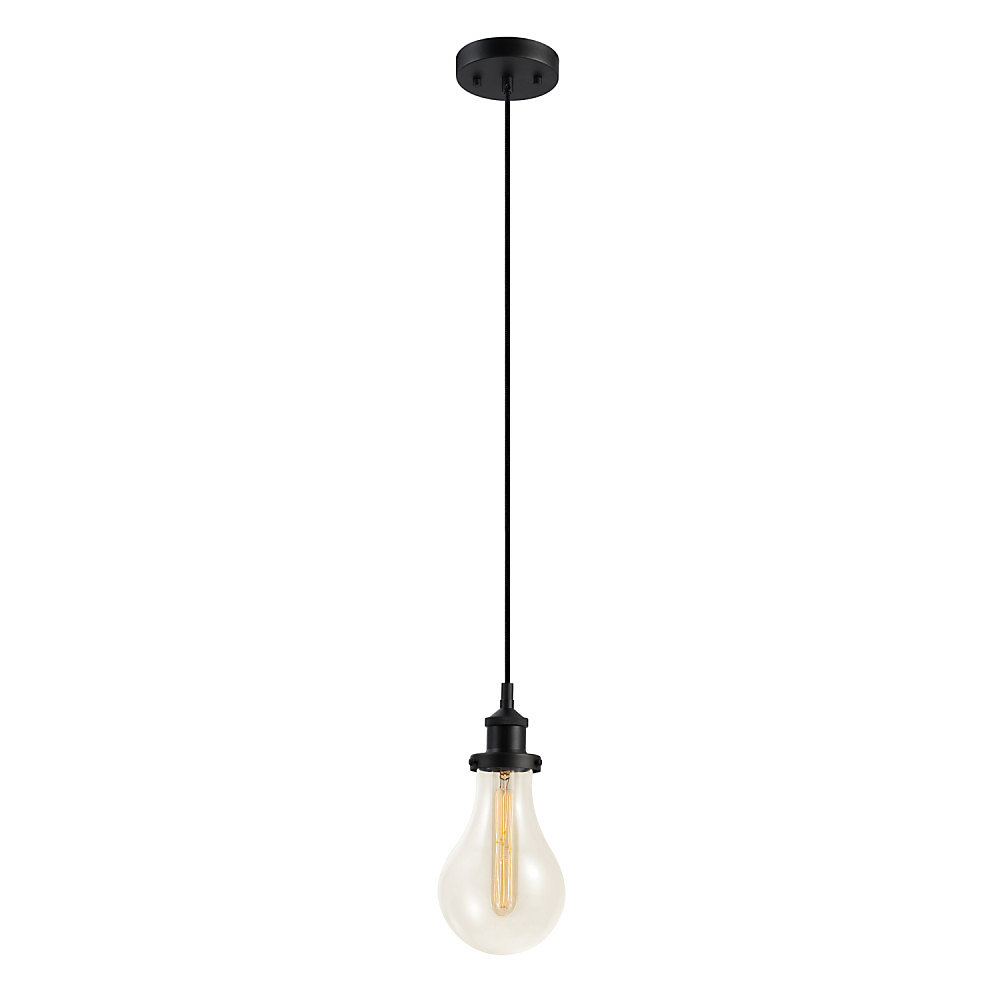 Pendentif suspendu à 1 lumière, collection Izzy, fini bronze foncé, ampoule vintage Edison incluse