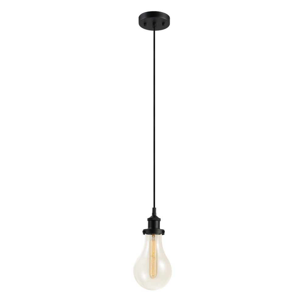 Globe Electric Izzy 1-Light Dark Bronze Pendant with Clear Glass Shade, T-Type Vintage Edison Bulb Included