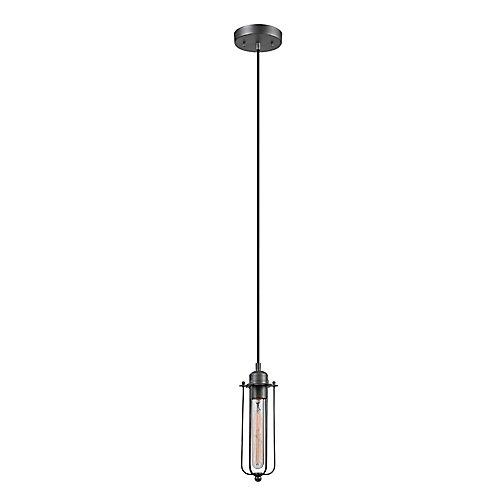 Shilo 1-Light Galvanized Pendant, T-Type Vintage Edison Bulb Included