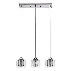 Globe Electric Maddox 3-Light Polished Chrome Pendant with Clear Glass Shades