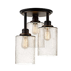 Annecy 3-Light Semi-Flush Mount Ceiling Light Fixture in Oil-Rubbed Bronze