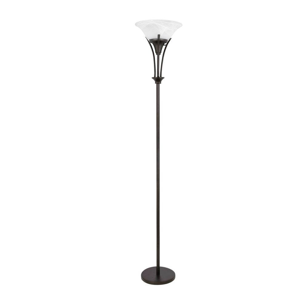 Globe Electric Gatineau 71 Inch Dark Bronze Floor Lamp with Alabaster Glass Shade