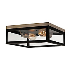 Verona 2-Light Dark Bronze Flush Mount Ceiling Light with Clear Glass Panes