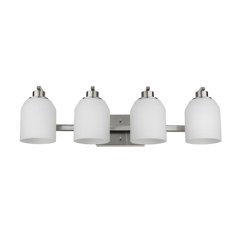 Globe Electric Davenport 4-Light Bath Vanity Light Fixture in Brushed Nickel
