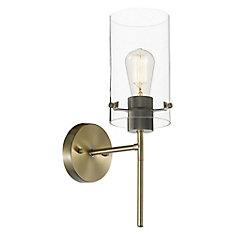 Cusco 1-Light Wall Sconce Light Fixture in Antique Brass