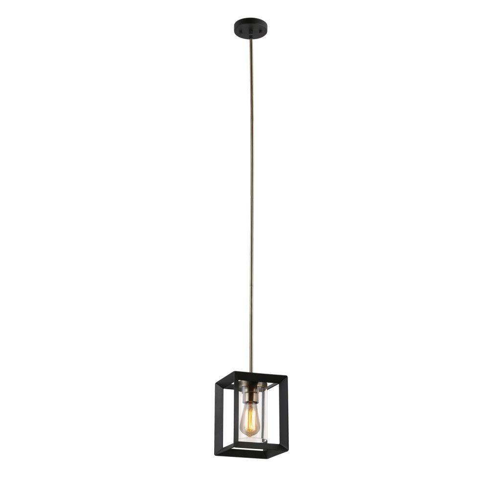 Globe Electric Verona 1-Light Dark Bronze Pendant with Clear Glass Shade