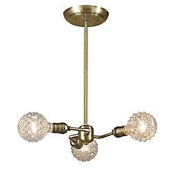 Globe Electric Pendentif Varys à 3 ampoules, fini antique en laiton