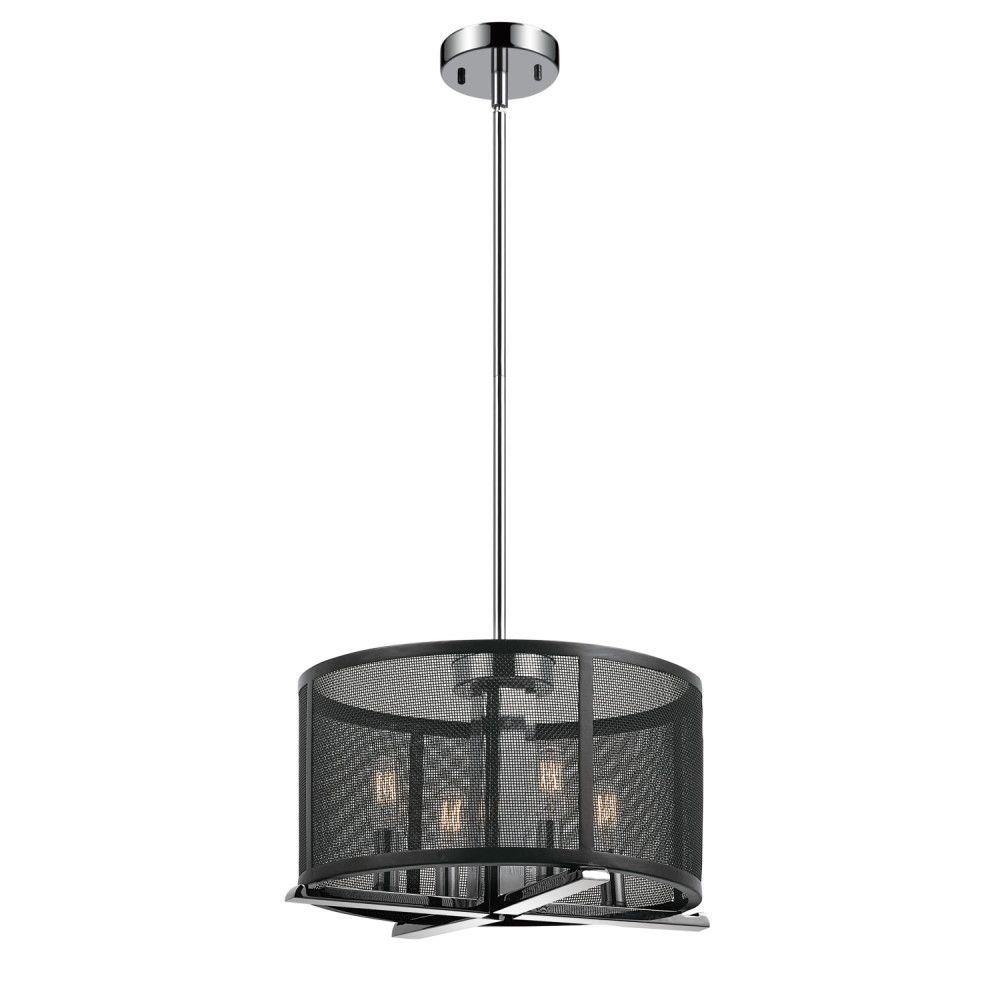 Globe Electric Novogratz Aliya 4-Light Matte Black Mesh Cage Chandelier