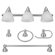 5-Piece Estorial Brushed Steel All-In-One Bath Set with Vanity Light