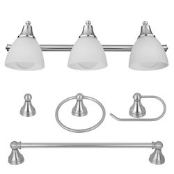 Globe Electric 5-Piece Estorial Brushed Steel All-In-One Bath Set with Vanity Light