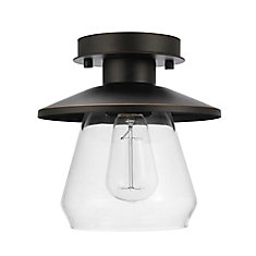 Nate 1-Light Oil Rubbed Bronze Semi-Flush Mount Ceiling Light Fixture