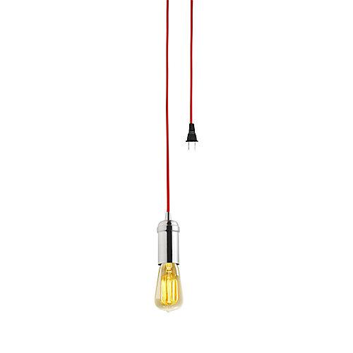1-Light Vintage Edison Brushed Steel Plug-In Mini Pendant