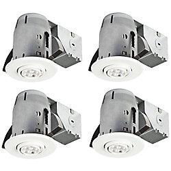Globe Electric Ensemble d'éclairage encastré à projecteur pivotant DEL 3In, (paquet de 4), fini blanc