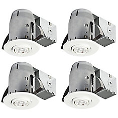 3In White IC Rated Dimmable Recessed Lighting Kit, LED Bulbs Included (4-Pack)