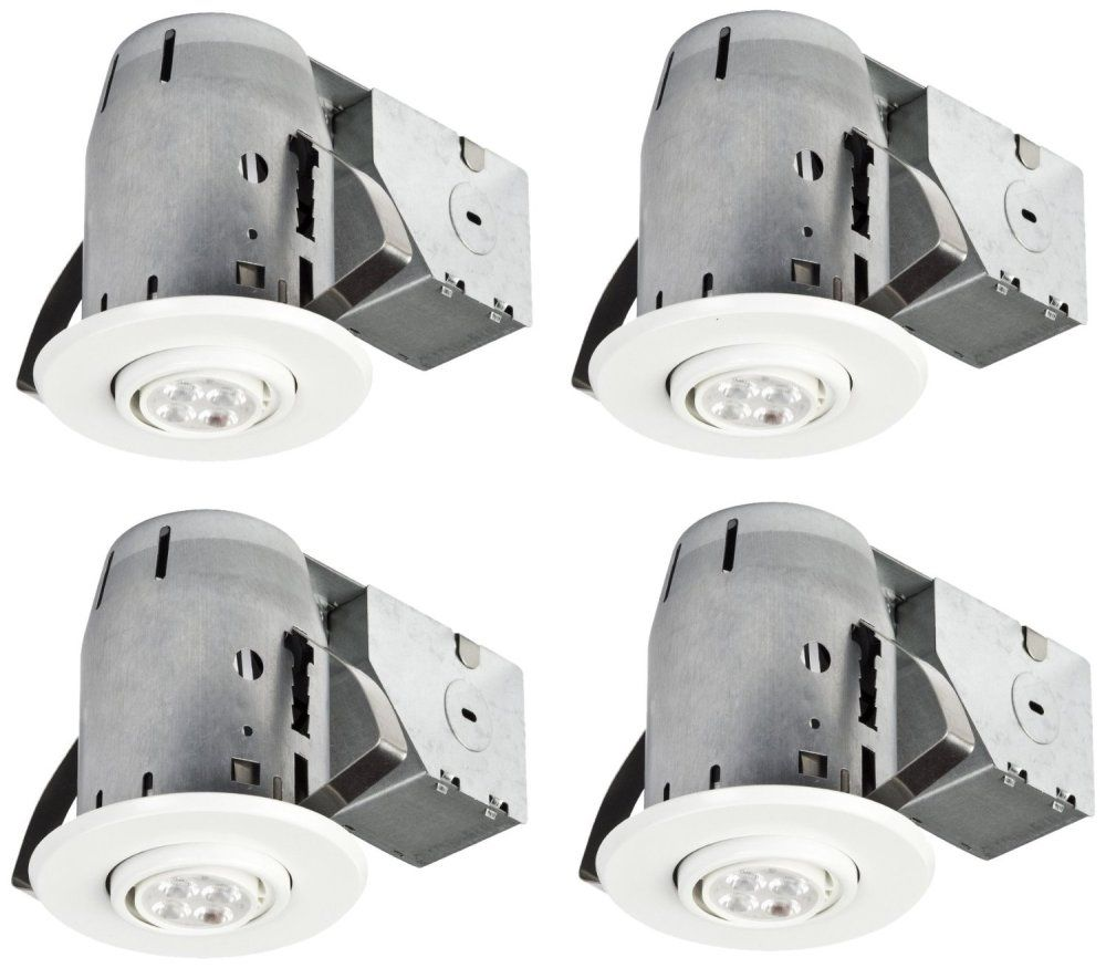 Globe Electric 3In White IC Rated Dimmable Recessed Lighting Kit, LED Bulbs Included (4-Pack)
