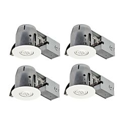 Globe Electric 4In White IC Rated Dimmable Recessed Lighting Kit, LED Bulbs Included (4-Pack)