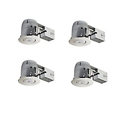 4In Brushed Nickel IC Rated Dimmable Recessed LED Kit, LED Bulbs Included, (4-Pack)