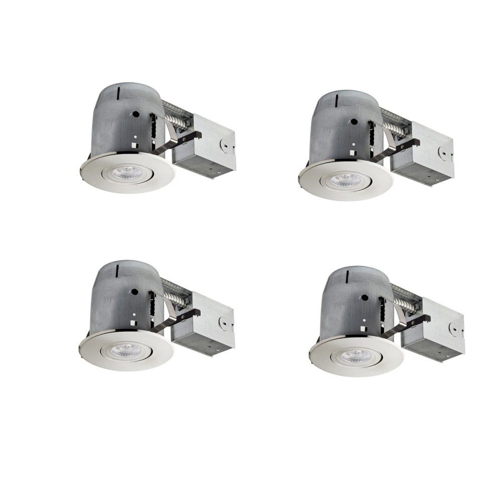 Globe Electric 4In Brushed Nickel IC Rated Dimmable Recessed LED Kit, LED Bulbs Included, (4-Pack)