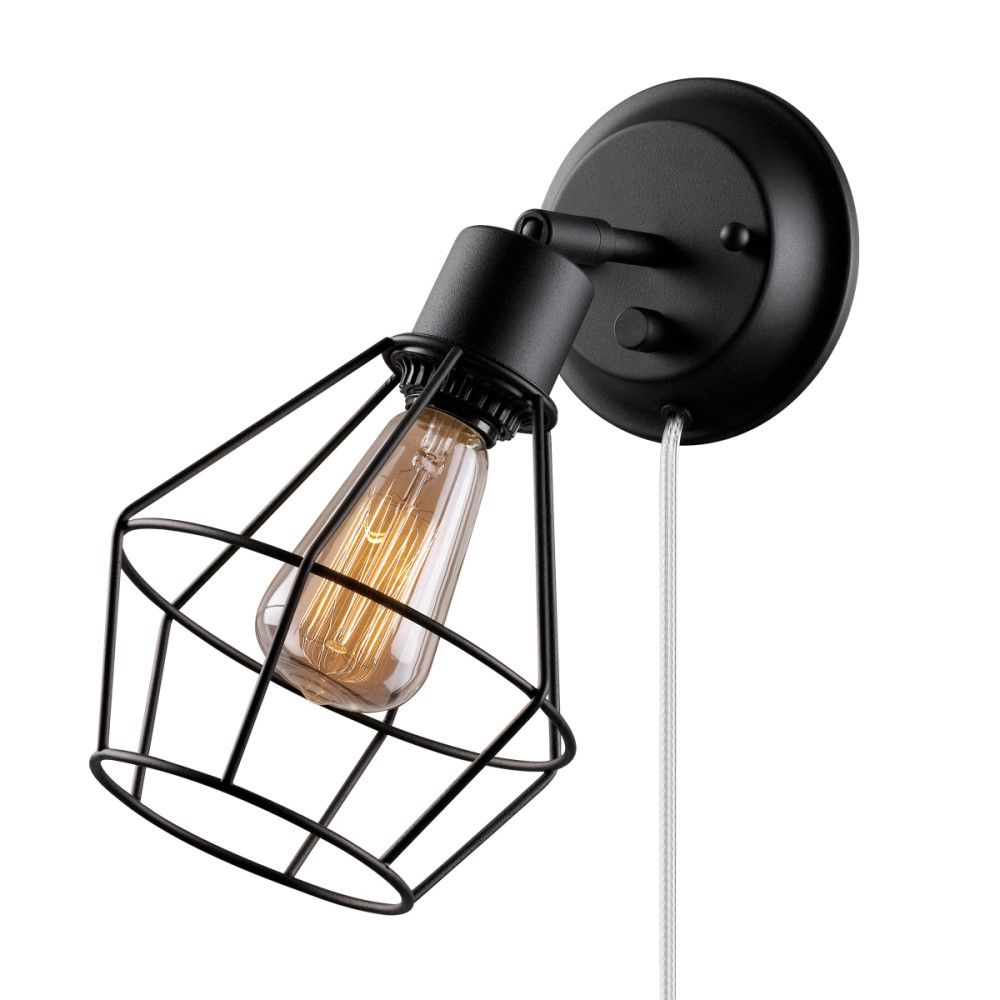 Globe Electric Verdun 1-Light Matte Black Plug-In or Hardwire Industrial Cage Wall Sconce