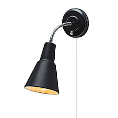 Ramezay 1-Light Matte Black Plug-In or Hardwire Task Wall Sconce Light