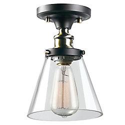 Globe Electric Plafonnier encastré Jackson à 1 ampoule, fini en brun et laiton