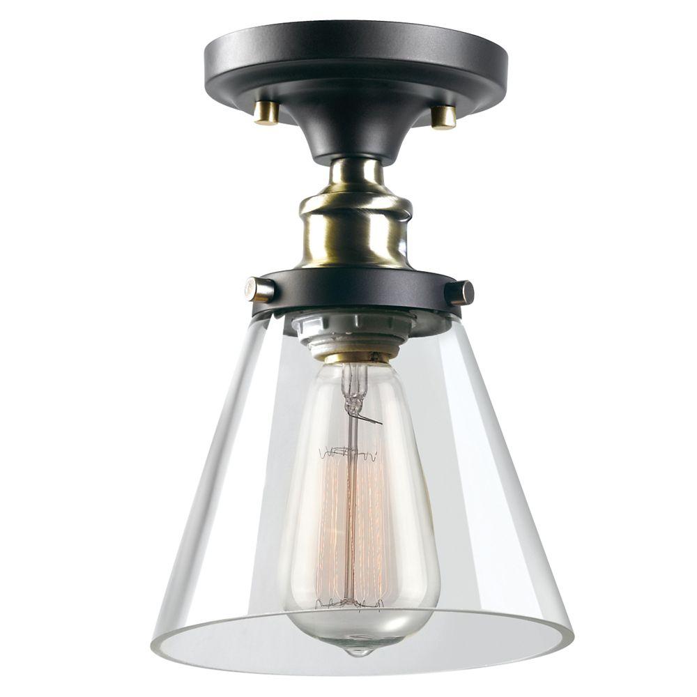 Globe Electric Jackson 1-Light Flush Mount Ceiling Light in Dark Bronze