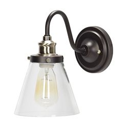 Globe Electric Jackson 1-Light Oil Rubbed Bronze and Antique Brass Wall Sconce Light