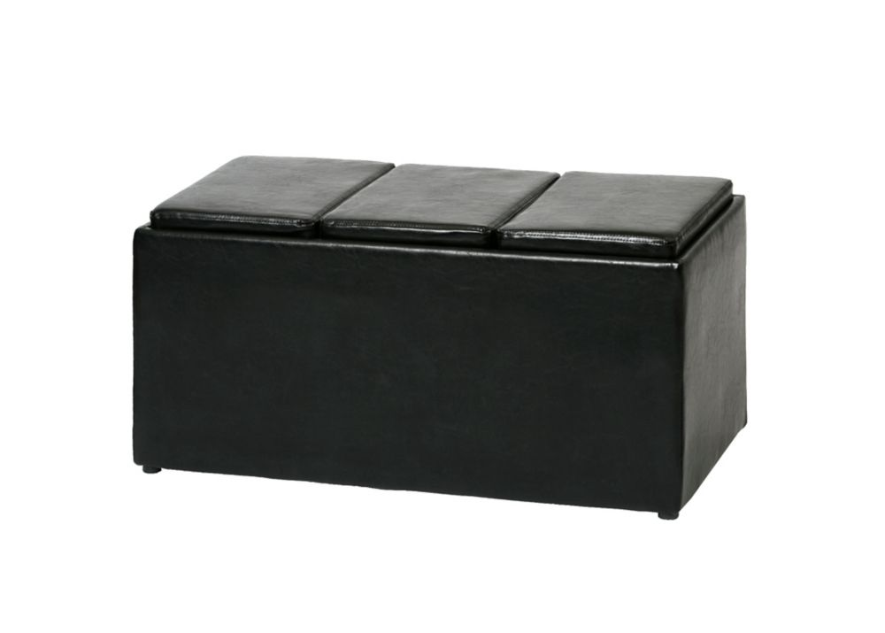 FHE BLACK PU BENCH WITH 3 TRAYS
