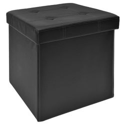 FHE 15-inch Tufted Foldable Storage Ottoman with Compartments in Black