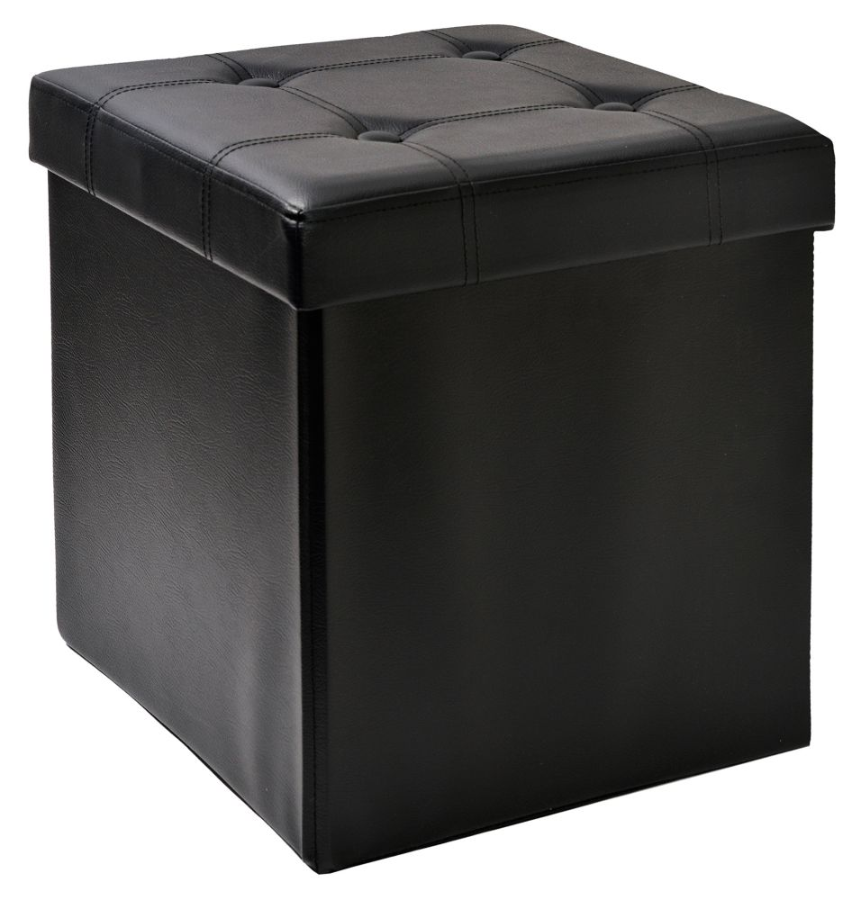 FHE 15-inch Tufted Foldable Storage Ottoman with Tray Top in Black
