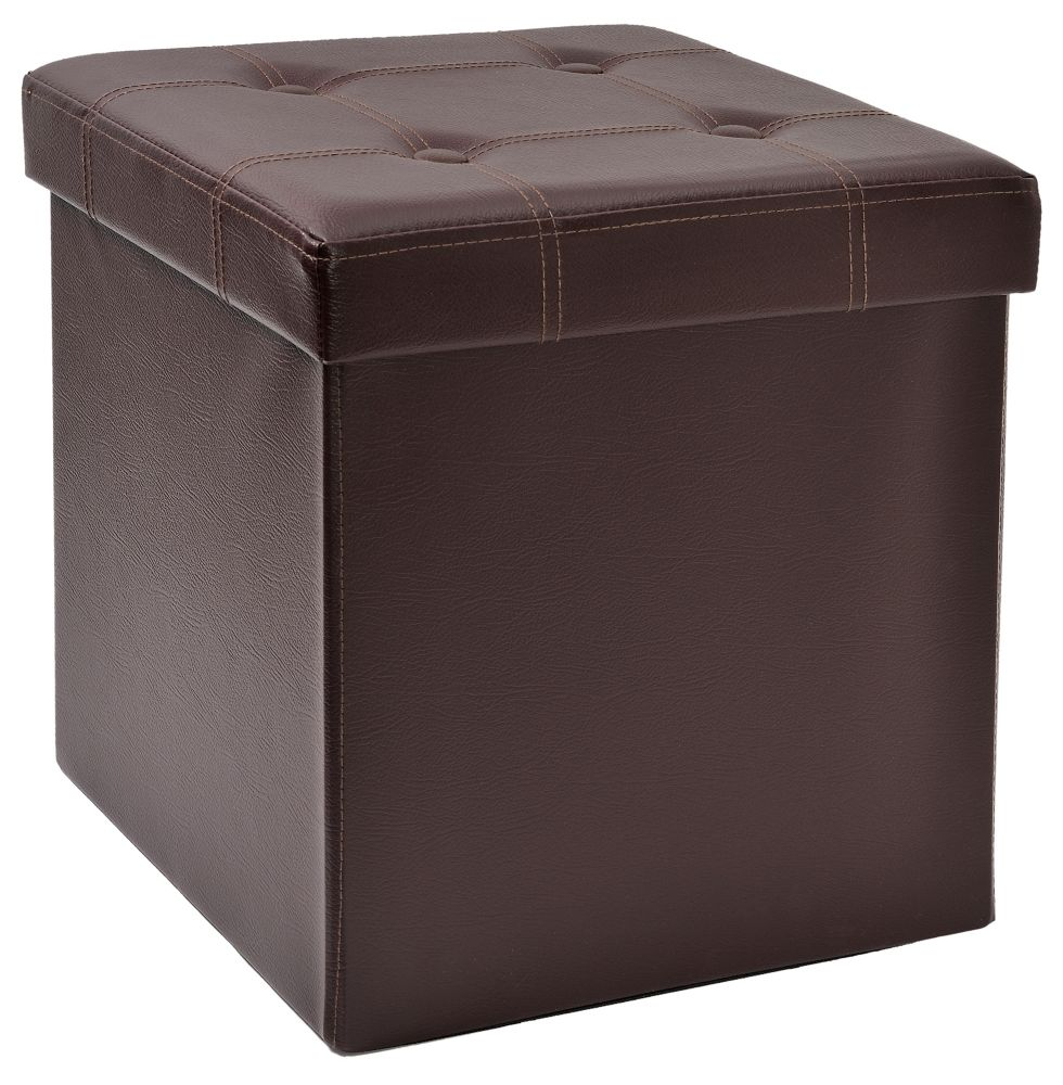 FHE 15-inch Tufted Foldable Storage Ottoman with Tray Top in Brown