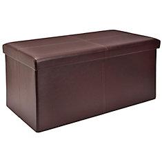 30-inch Folding Storage Bench in Brown