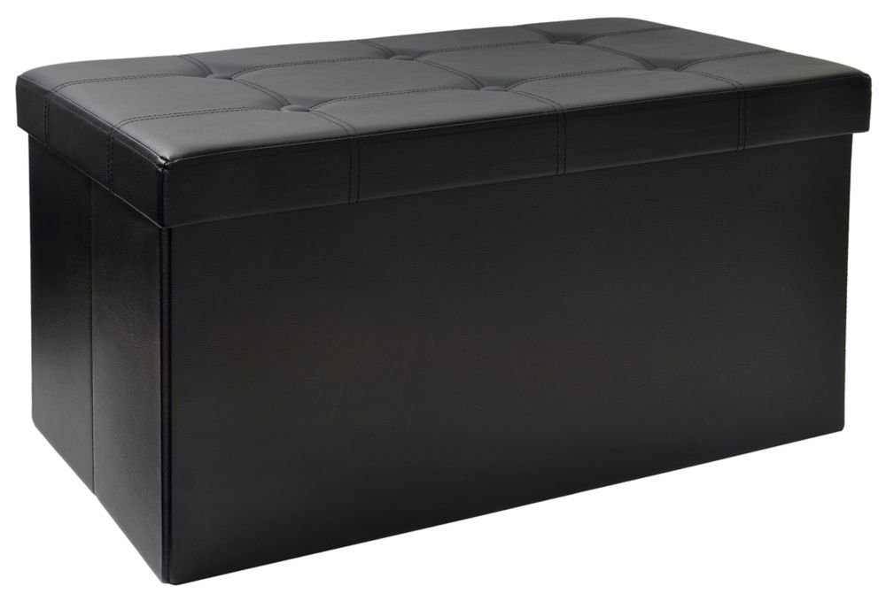 Fhe 30 Inch Folding Storage Bench With Tray Top In Black