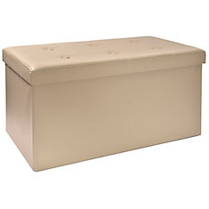 30-inch Folding Storage Bench with Tray Top in Taupe
