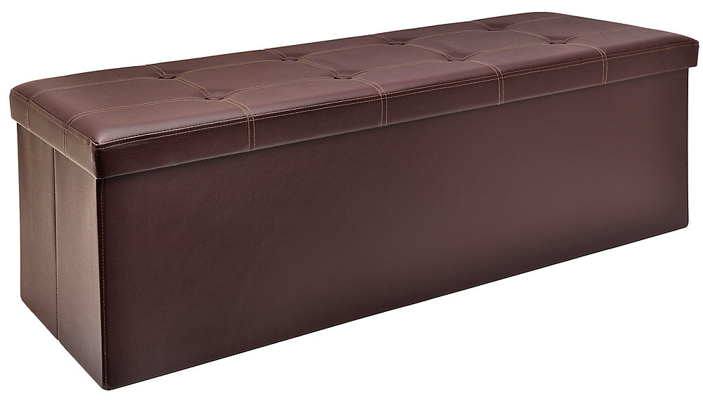 45-inch Folding Storage Bench in Brown