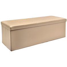45-inch Folding Storage Bench in Taupe
