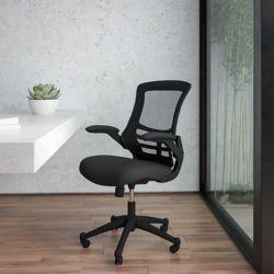Flash Furniture Chaise de travail à dossier mi-dos avec accoudoirs