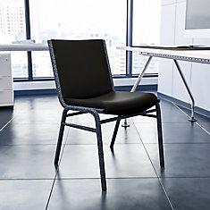 Heavy Duty Stackable Metal and Vinyl Chair in Black