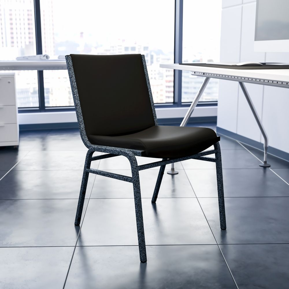Flash Furniture Heavy Duty Stackable Metal and Vinyl Chair in Black